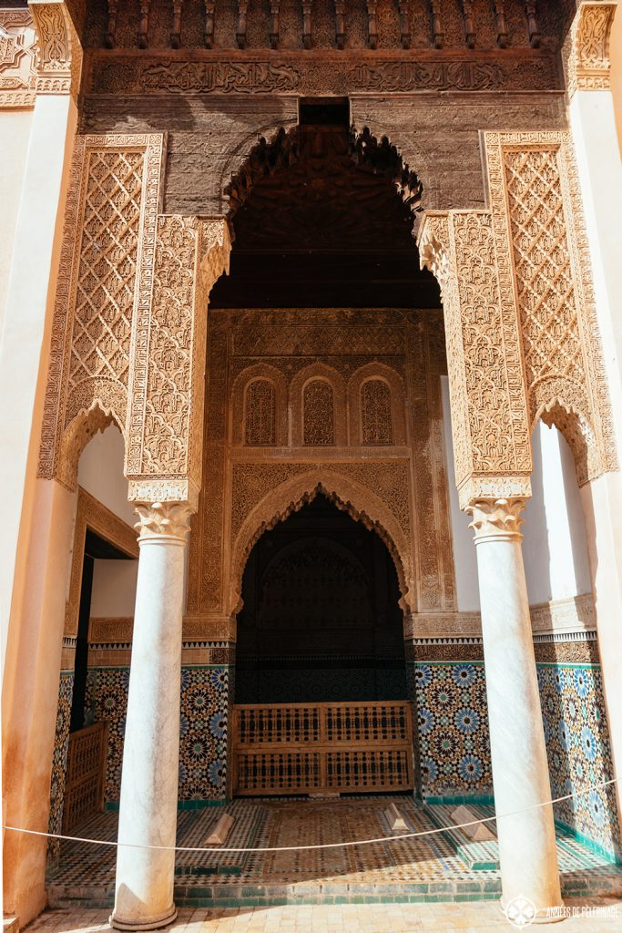 A beautiful archway at the Saadien Tombs in Marrakesh, Morocco definitely put it on your list of things to do in Marrekesh