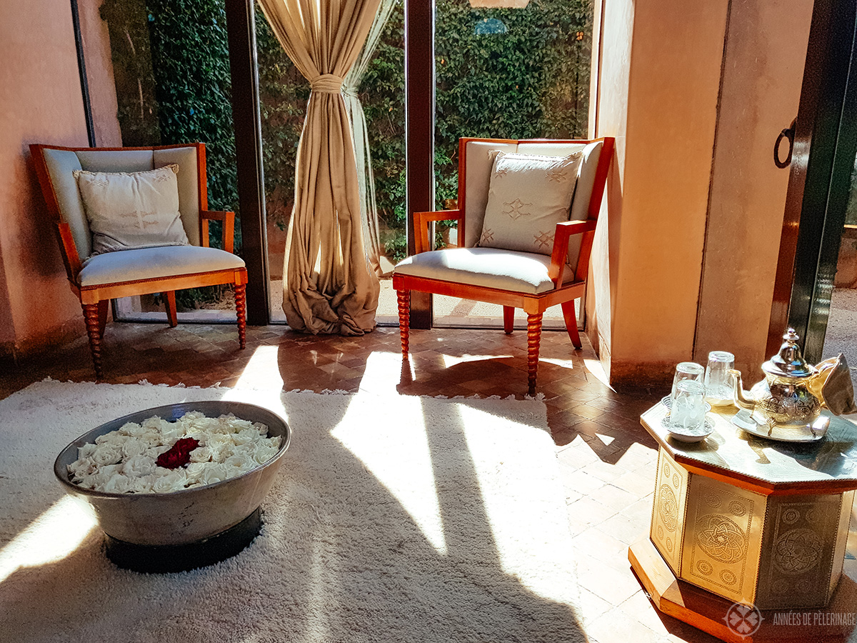 The reception area of the Amanjena spa in Marrakech, Morocco