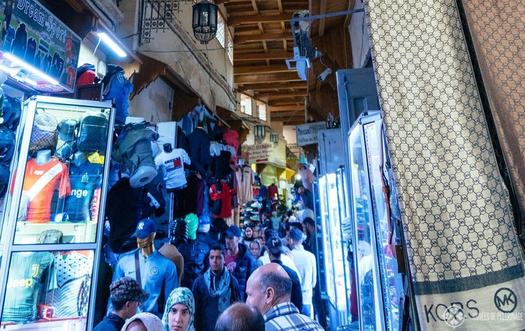 Inside the clothing souk of Meknes, Morocco