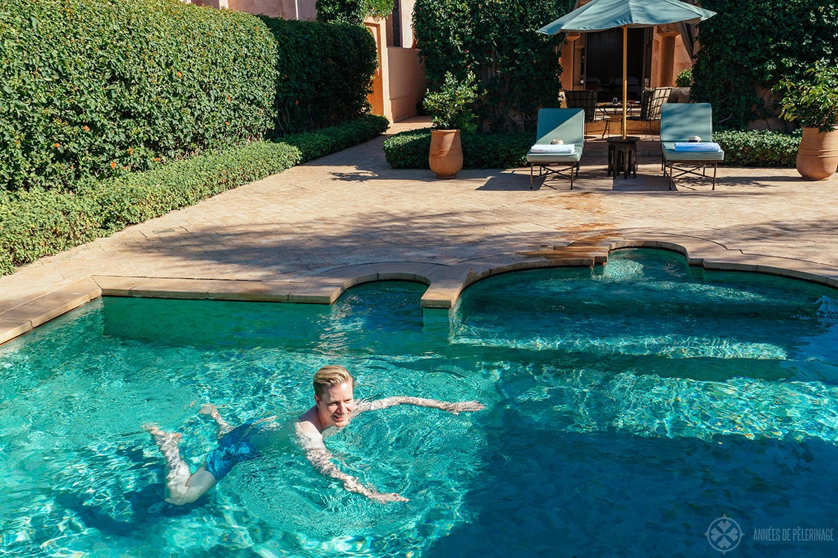 Swimming in the pavilion piscine amanjena luxury hotel in Marrakech