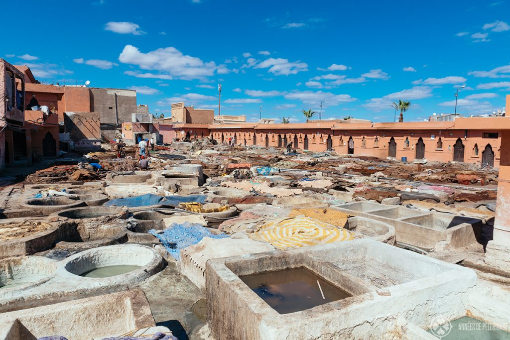 View of the biggest tannery in Marrakesh, Morocco - it's located on the east end of the city and one of the many free things to do in Marrakesh