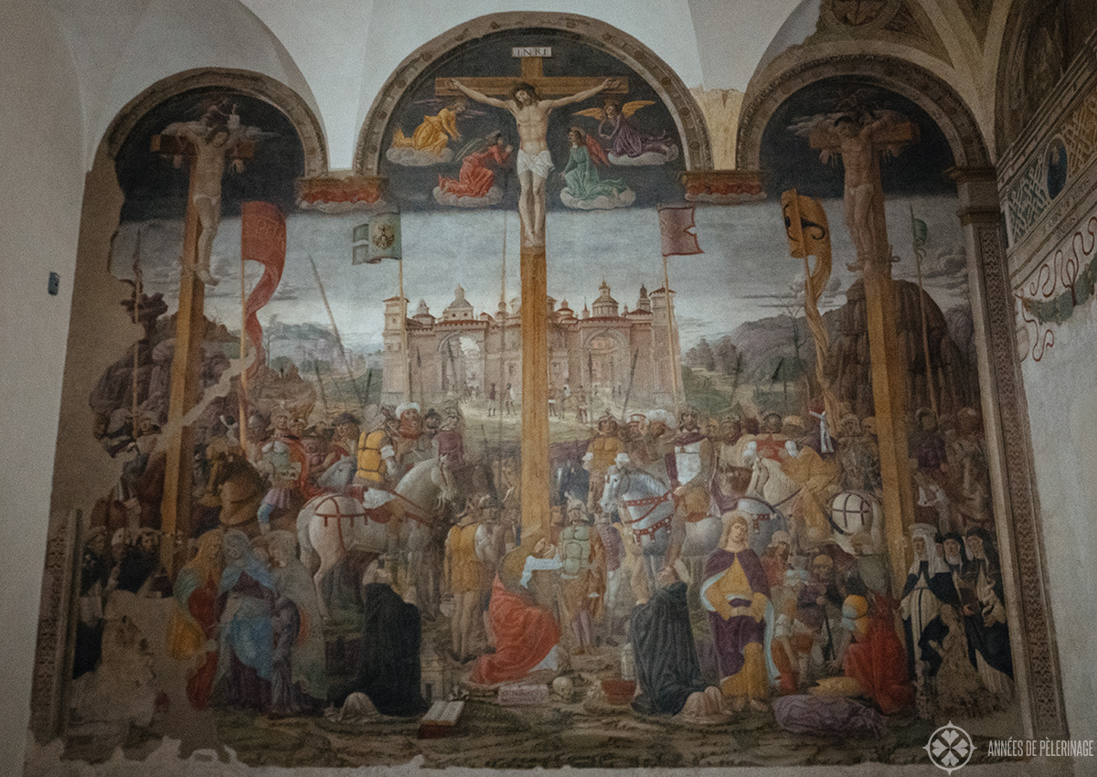 the Crucifixion by Giovanni Donato da Montorfano inside the refectory of the Last Supper Museum in Milan, Italy