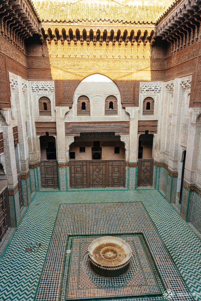 View of the bou Inania madrasa from the first floor where the students once lived. This is one of the best things to see in Meknes, Morocco