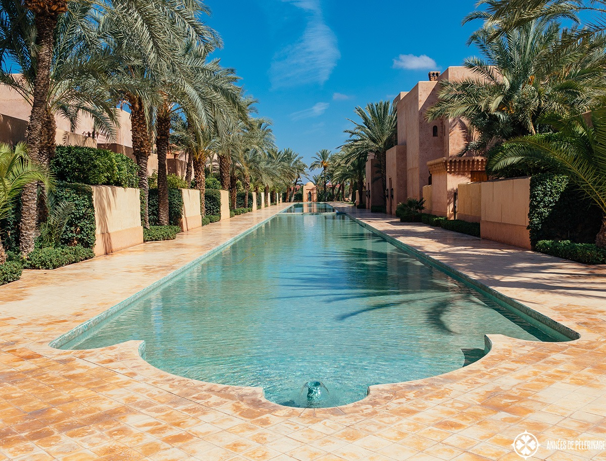 the ponds at the Amanjena luxury hotel in Marrakech, Morocco