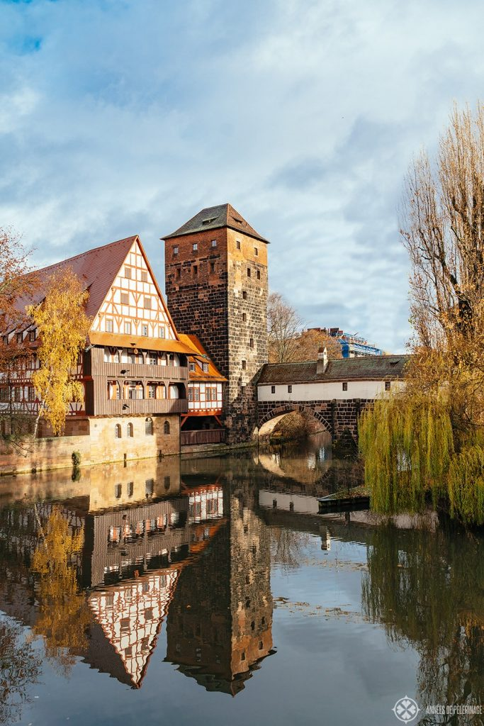Another view of the picture-perfect Hangman's Bridge in Nuremberg, Germany