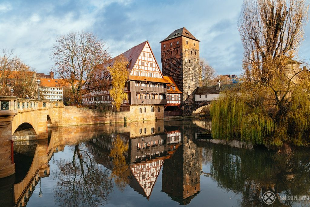 Hangman's bridge, tower and Weinstadel in Nuremberg old town - one of the many free things to do in Nuremberg