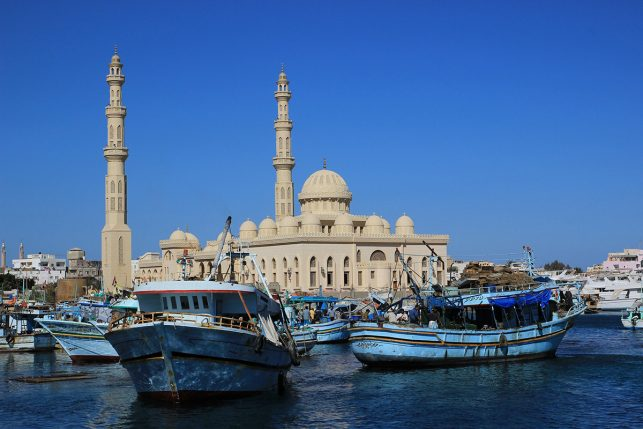 The harbor of Hurghada with the mosque in the Background.