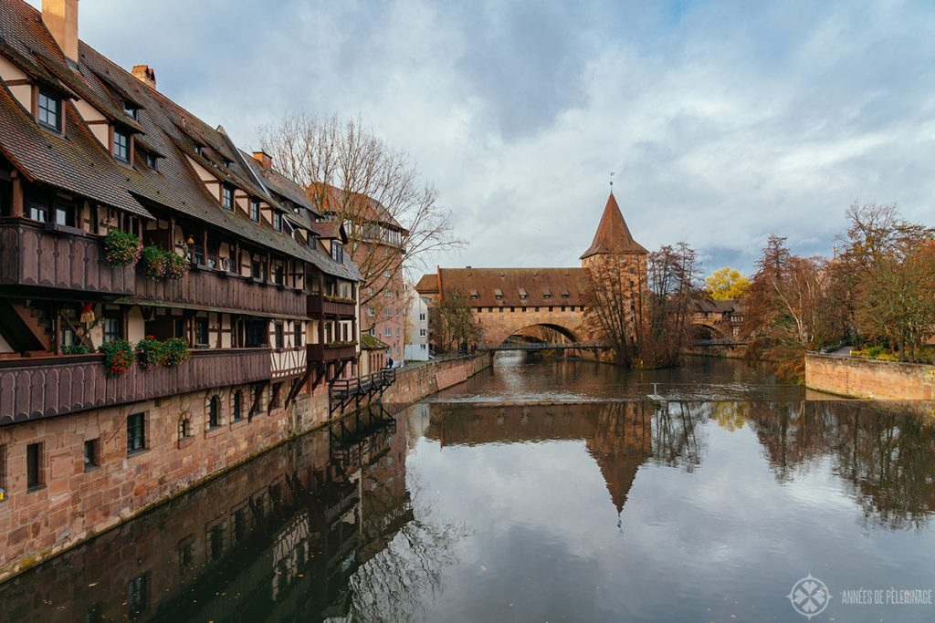 View along the river Pegnitz in Nuremberg, Germany