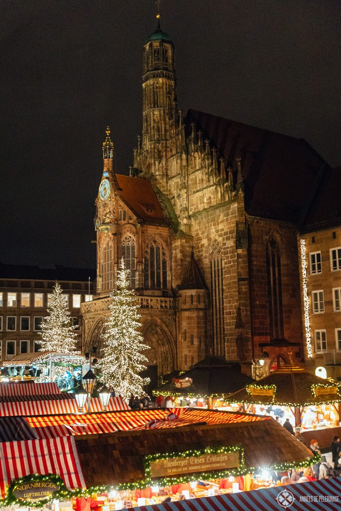 View of the christmas market with the Church of Our Lady in the background