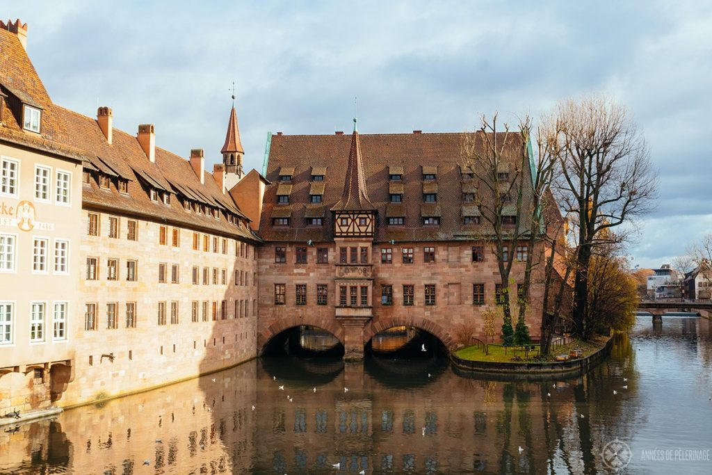Heilig Geist Spital above the River Pegnitz in Nuremberg, Germany