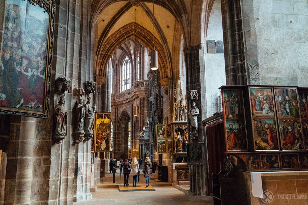 The beautiful medieval side altars of St. Lorenz church in Nuremberg Germany