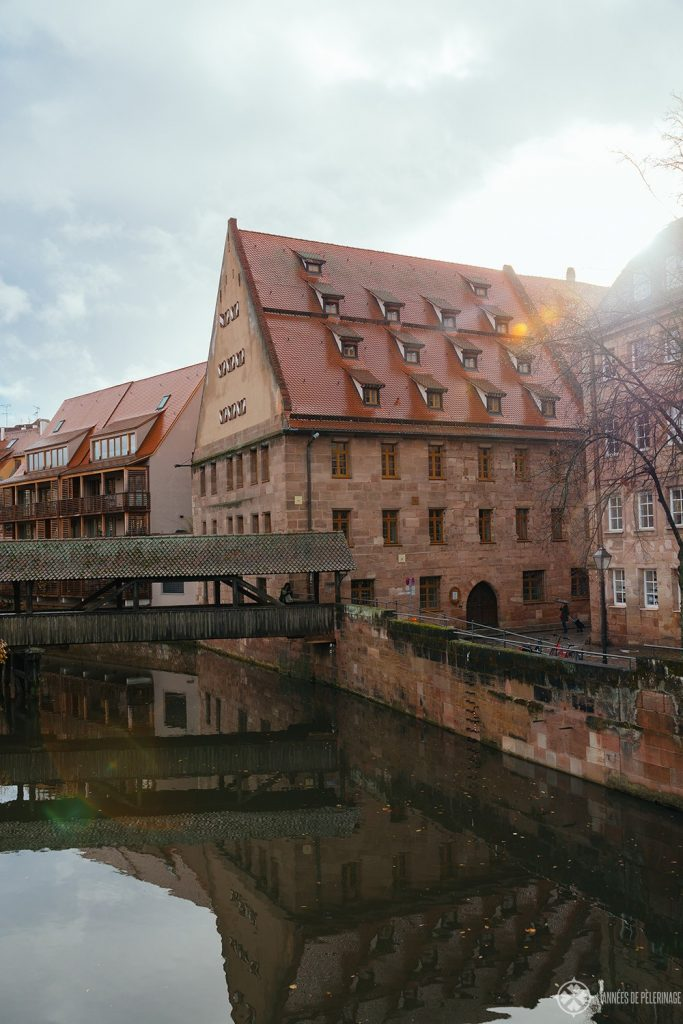 Medival buildings along the river Pegnitz in Nuremberg, Germany