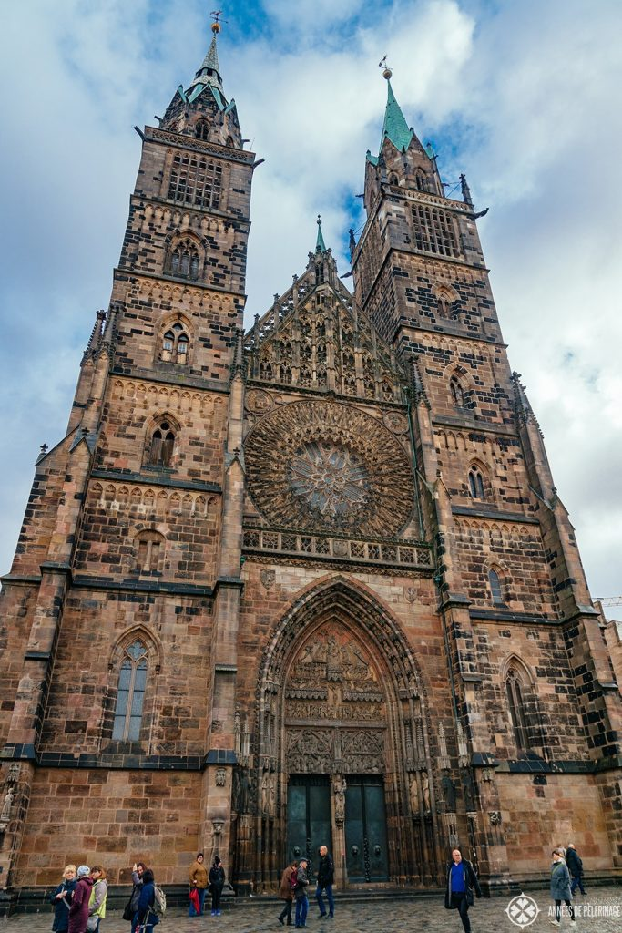 The facade of the majestic St. Lorenz church in Nuremberg, germany