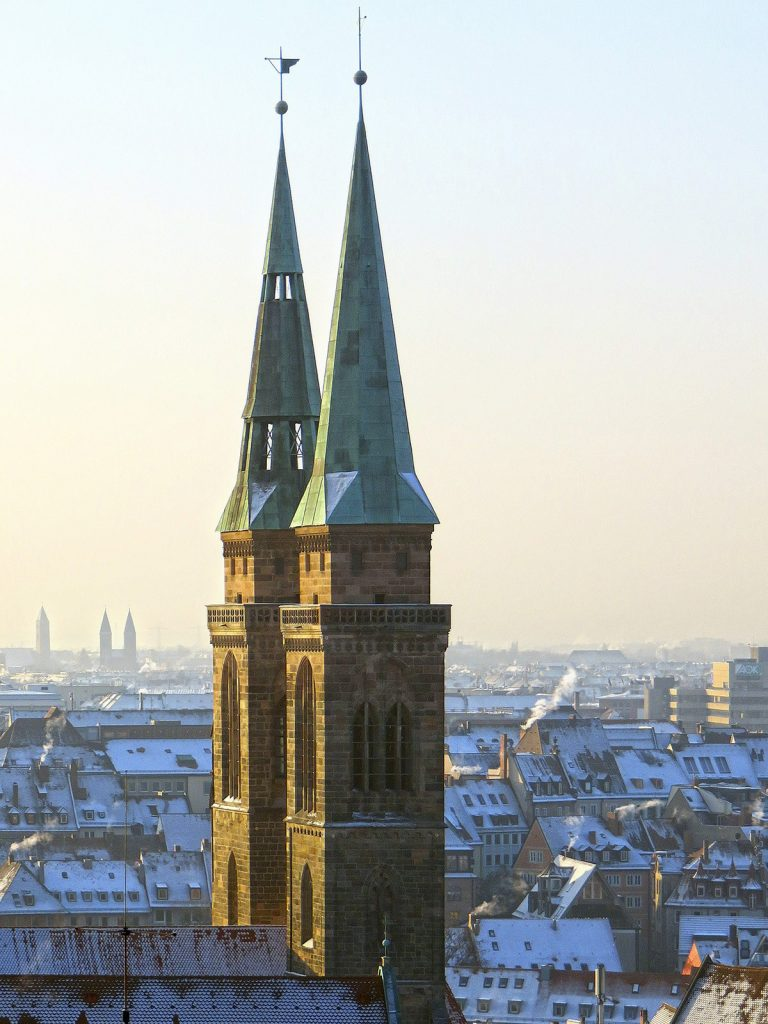 The towers of St. Sebaldus church in Nuremberg, Germany