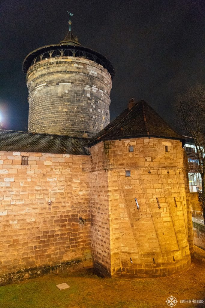Tower along the city wall at night in Nuremberg, Germany