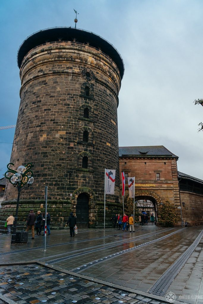 A massive tower along the ancient city wall of Nuremberg, Germany