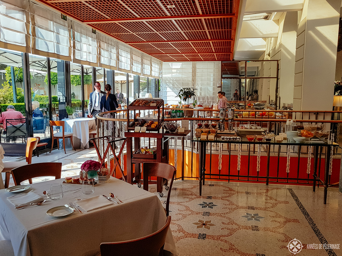 The breakfast restaurant of the Four Seasons Hotel Milano, Italy