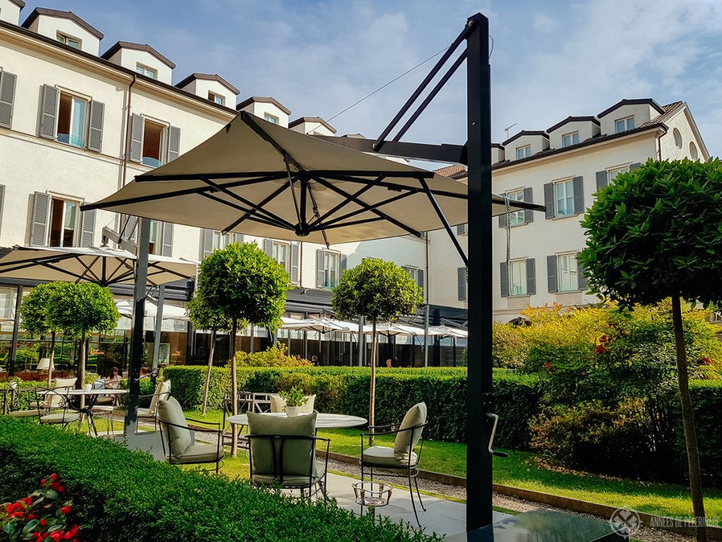 The garden terrace of the Four Seasons Hotel Milano, Italy