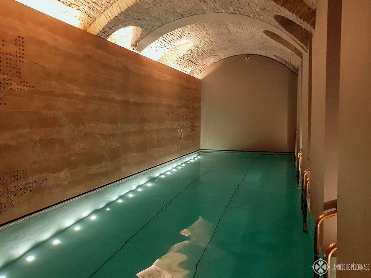 The pool of the underground spa of the Four Seasons Hotel Milano, Italy
