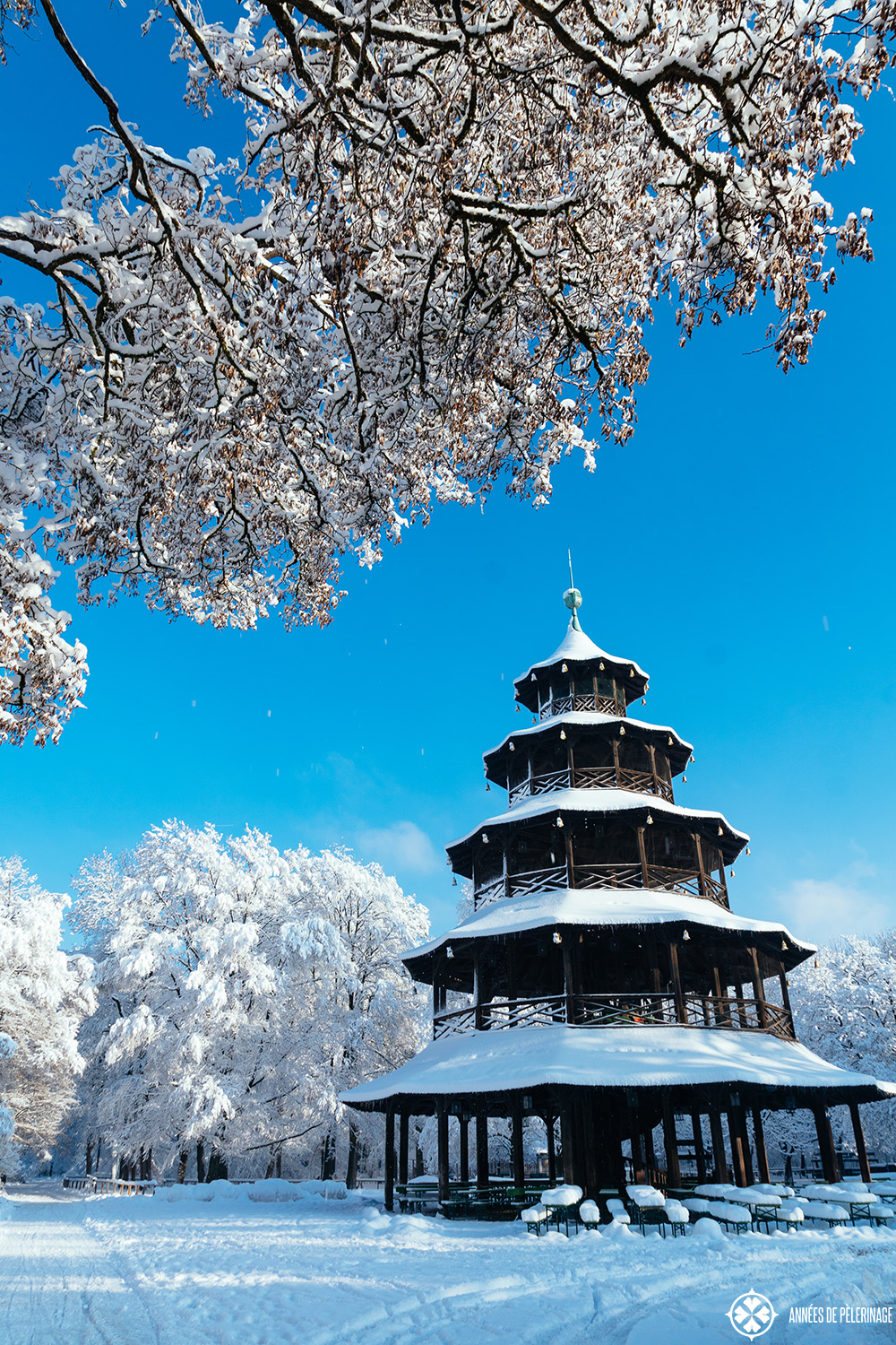 Chinese Tower in the middle of the Englische Garten in Munich in Winter