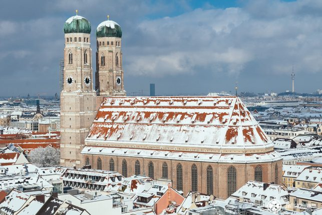 The Church of Our Lady (Fraunkirche) in Munich in Winter as seen from old pete clock tower