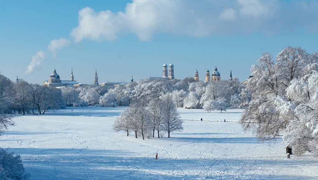 View of Munich from the Monopteros in Englische Garten in Winter