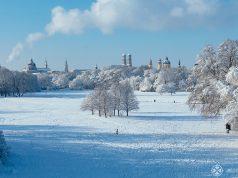 View of Munich from the Monopteros in Englische Garten in Winter