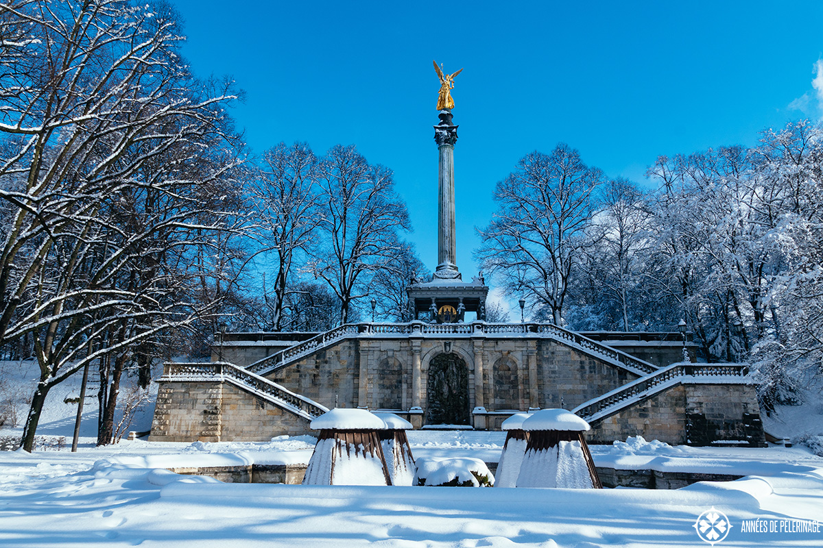 The Friedensengel (Angel of Peace) - wondering what to do in Munich in winter - go visit!