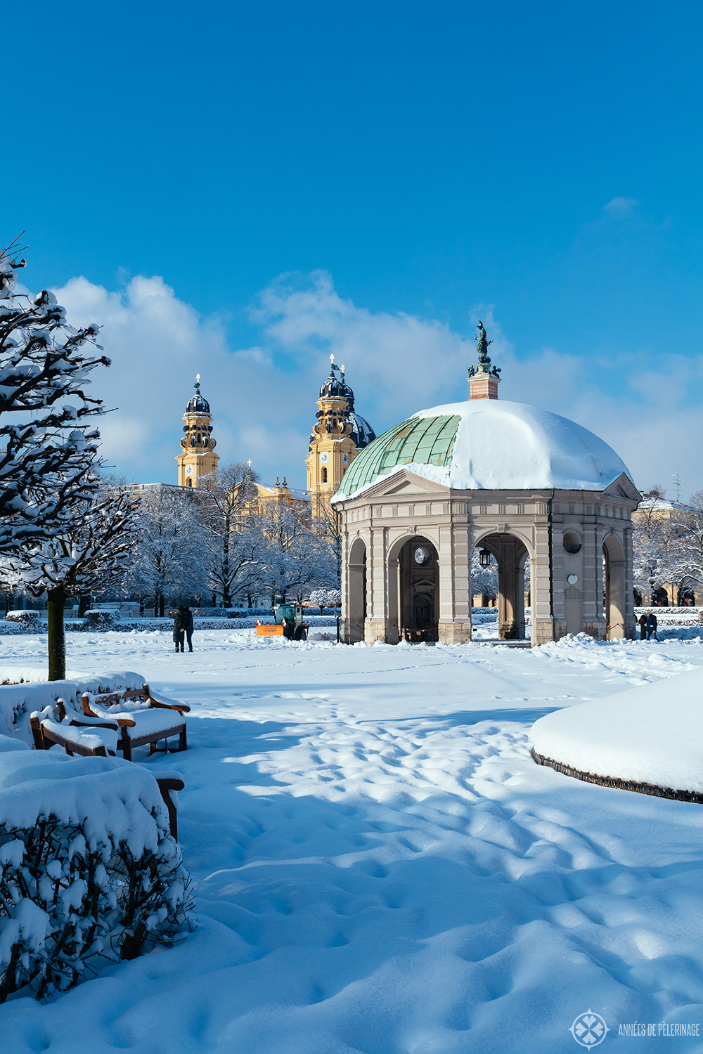 The Hofgarten Munich in Winter with the Theatinerkirche in the background