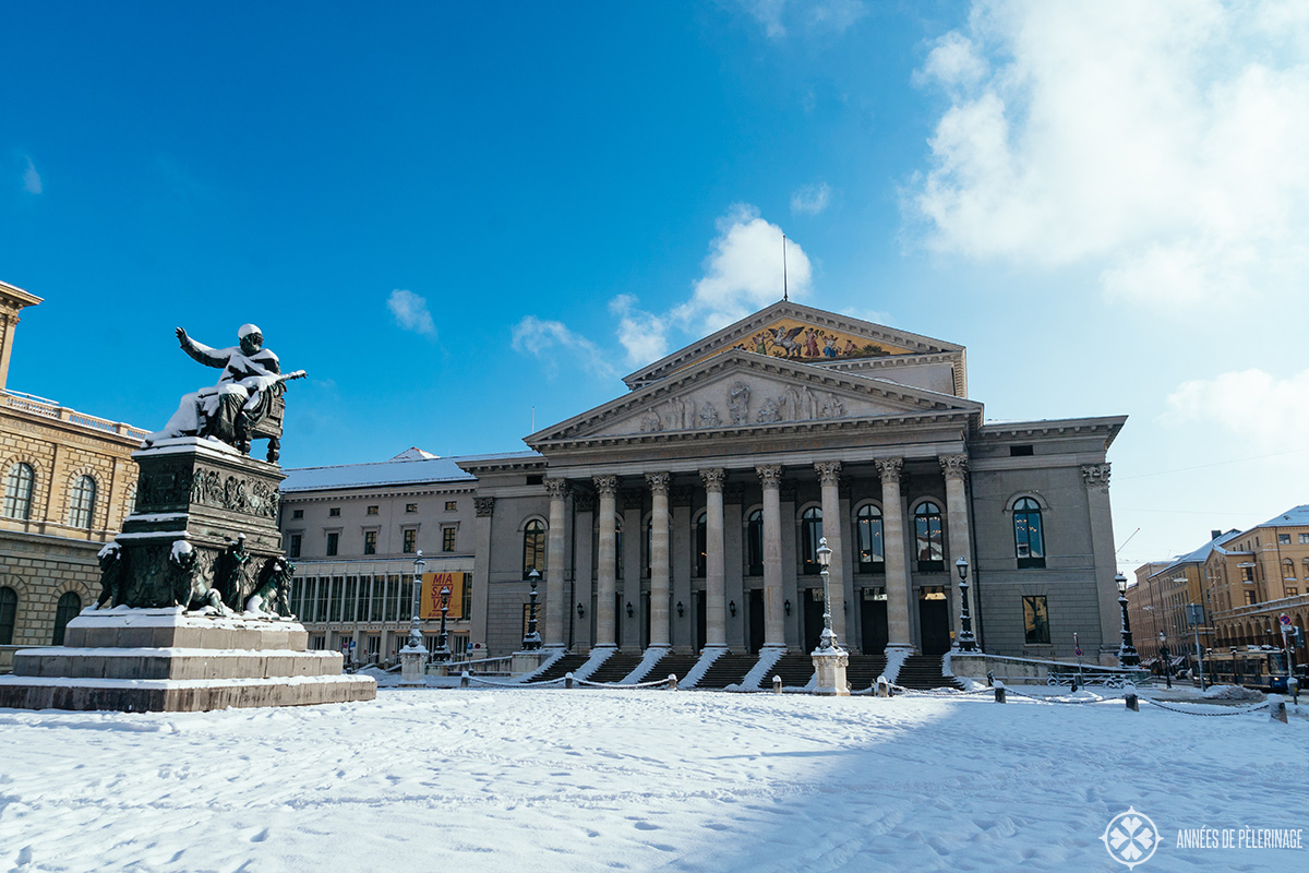 The Bavarian State Opera (Bayerische Staatsoper) in winter