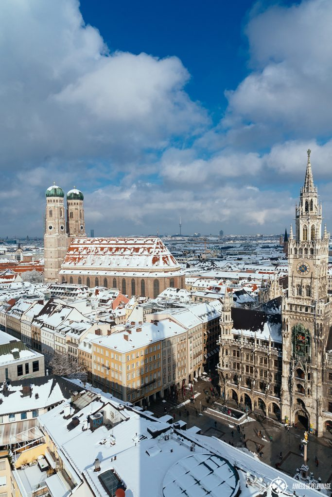 The New City Hall and the Church of Our lady in Munich in winter