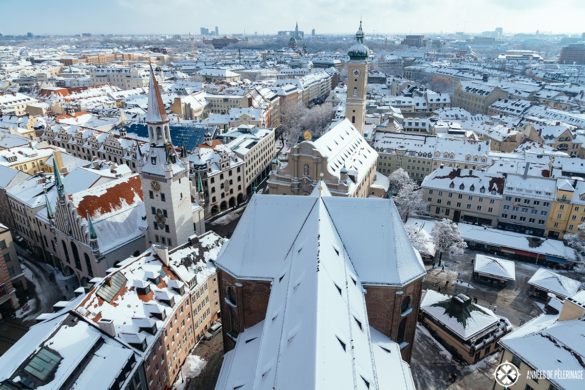 The view from the top of the Alter Peter bell tower in Munich, Germany