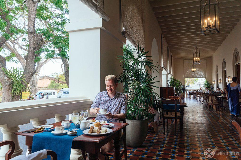 Me enjoying the Afternoon tea at Amangalla luxury hotel