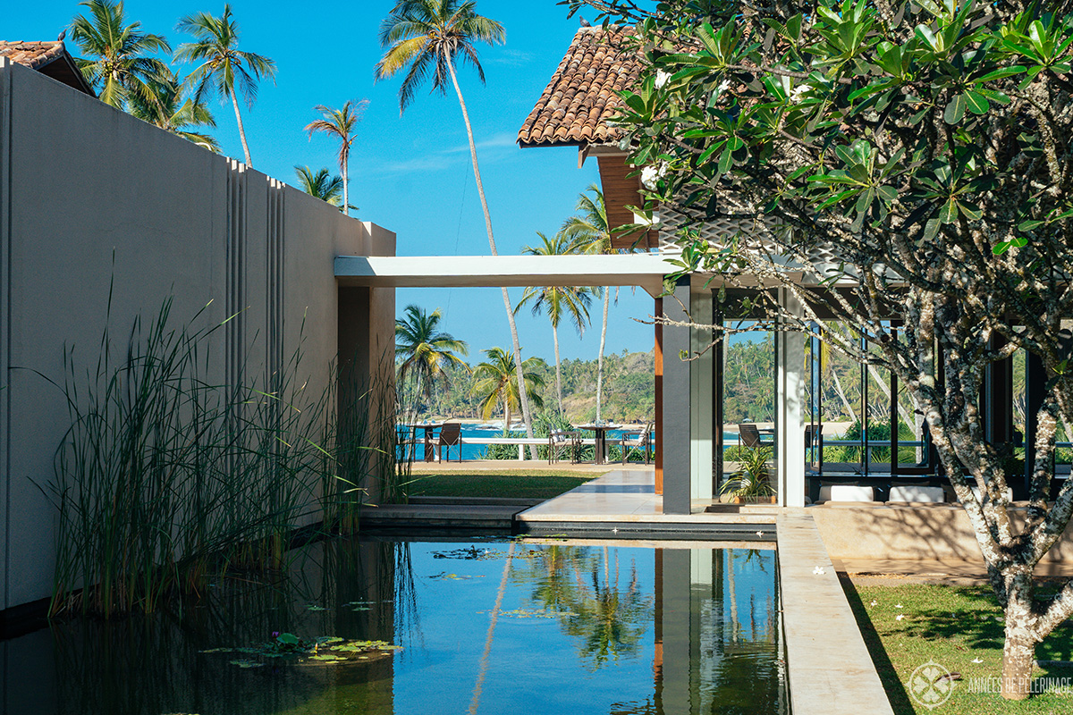 a little pool close to the library (with a view of the restaurant) at Amanwella luxury resort Sri Lanka