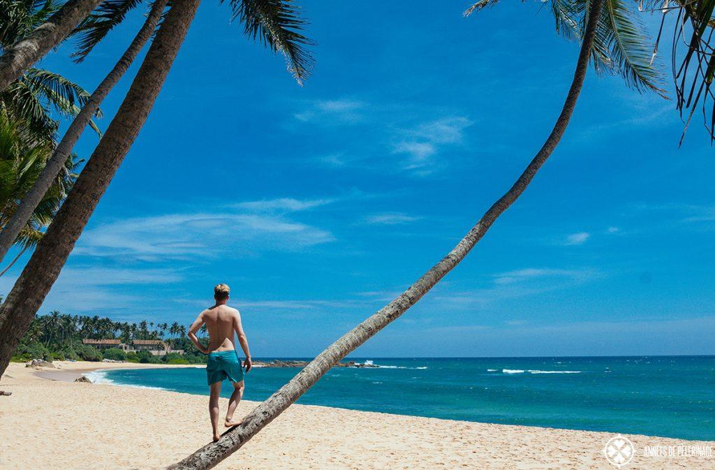 Me at the beach of the Amanwella luxury hotel in Sri Lanka