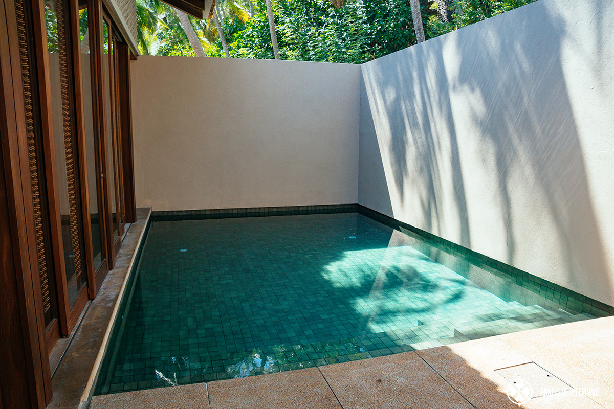 The private pool in your villas at the Amanwella luxury resort in Sri Lanka