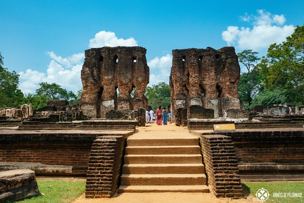 The ruins of an ancient palace in Polonnaruwa, Sri Lanka