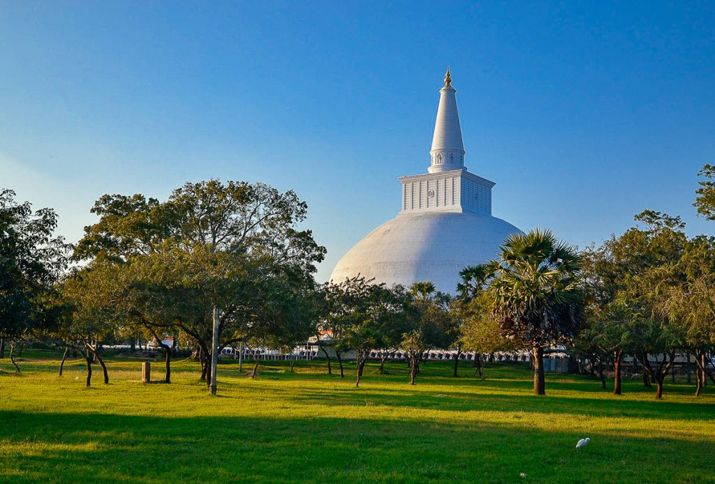 The grand Ruwanwelisaya stupa in Anuradhapura, Sri Lanka