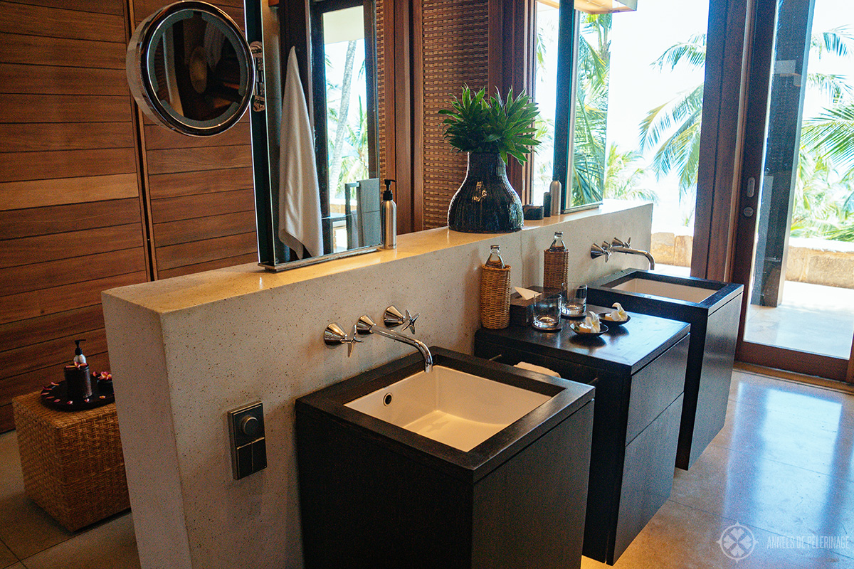 of course there are his and her sinks in the bathrooms of your private villas at Amanwella luxury hotel