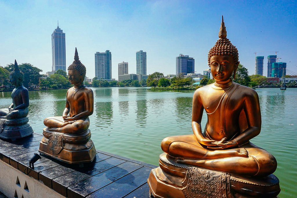 Buddha statues at Gangaramaya Temple in Colombo Sri Lanka