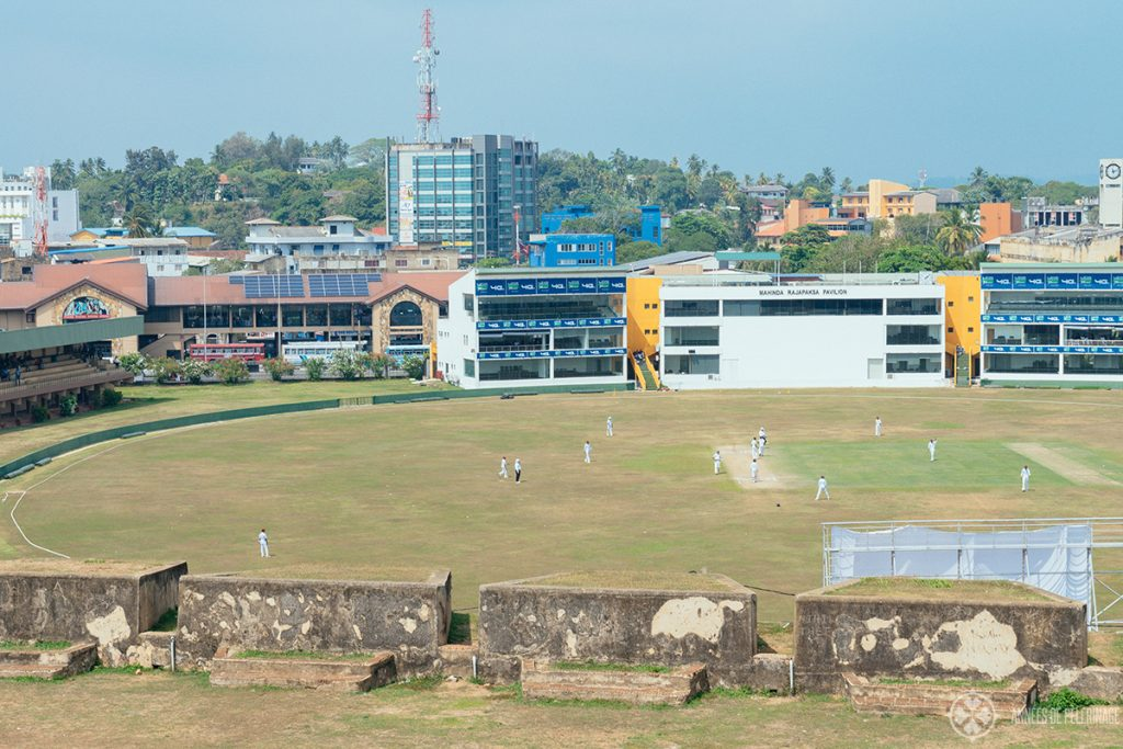 A cricket match at the Galle cricket stadium as seen from the old Clock tower