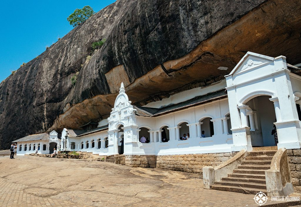 Front view of the Dambulla Cave Temple in Sri Lanka