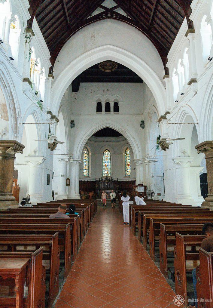Inside the All Saints church in Galle, Sri Lanka