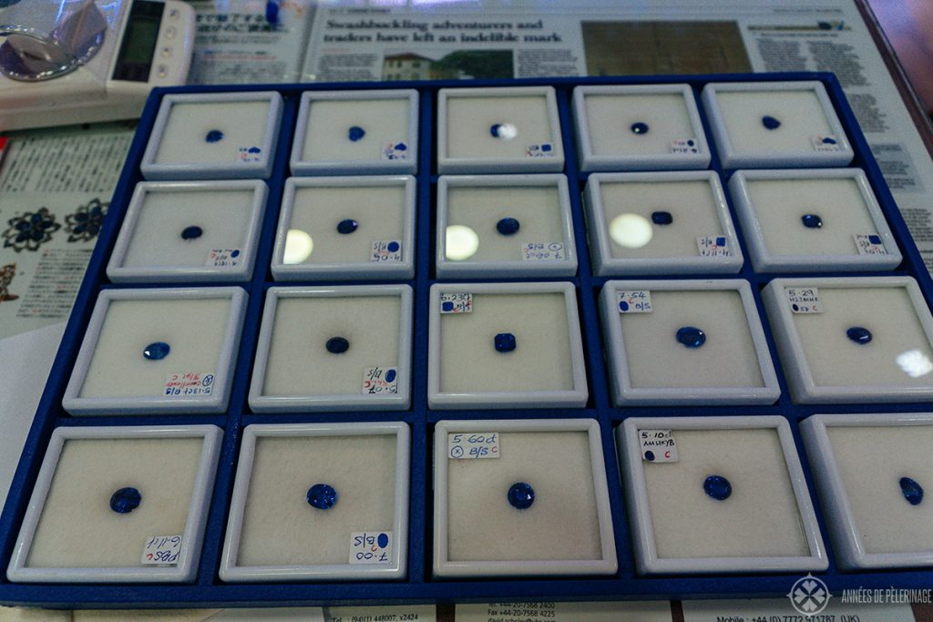 Loose sapphires in different sizes - there are many jewellry shops in the town