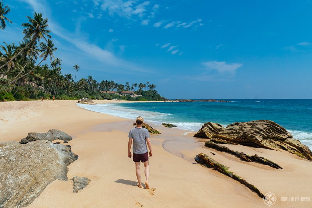 me exploring the fabulous beach of the Amanwella luxury resort in Sri lanka