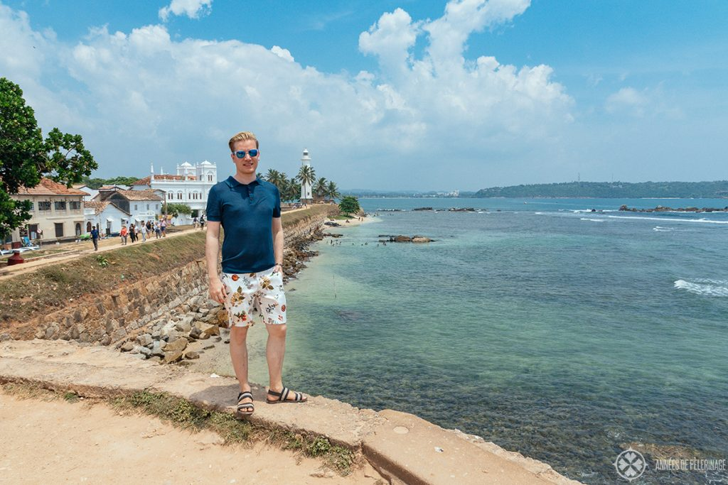 Me enjoying the view from Flagrock Bastion of Galle Lighthouse and the Dutch fort
