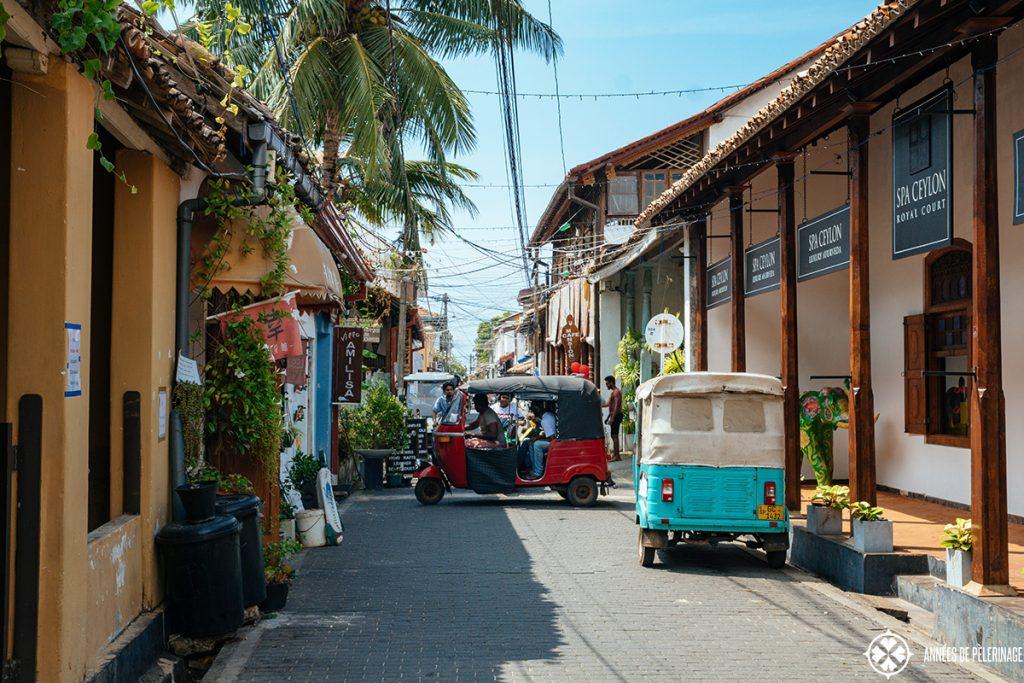 Tuk Tuks driving through the old town of Galle, Sri Lanka