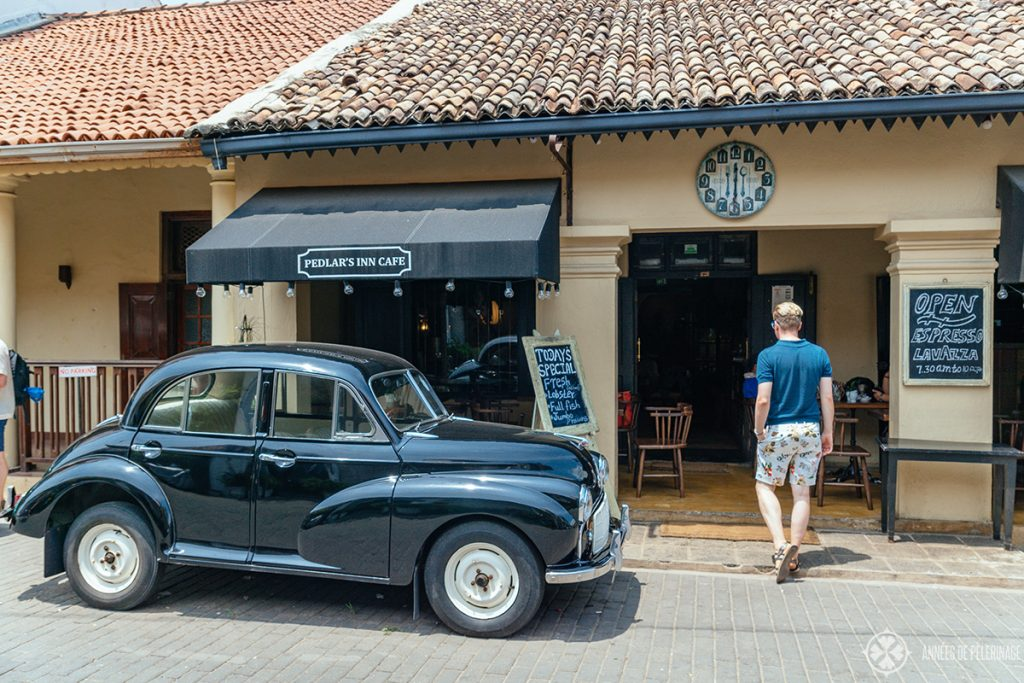 A vintage car in front of Pedlar's inn in the old town - one of the best places to eat in Galle