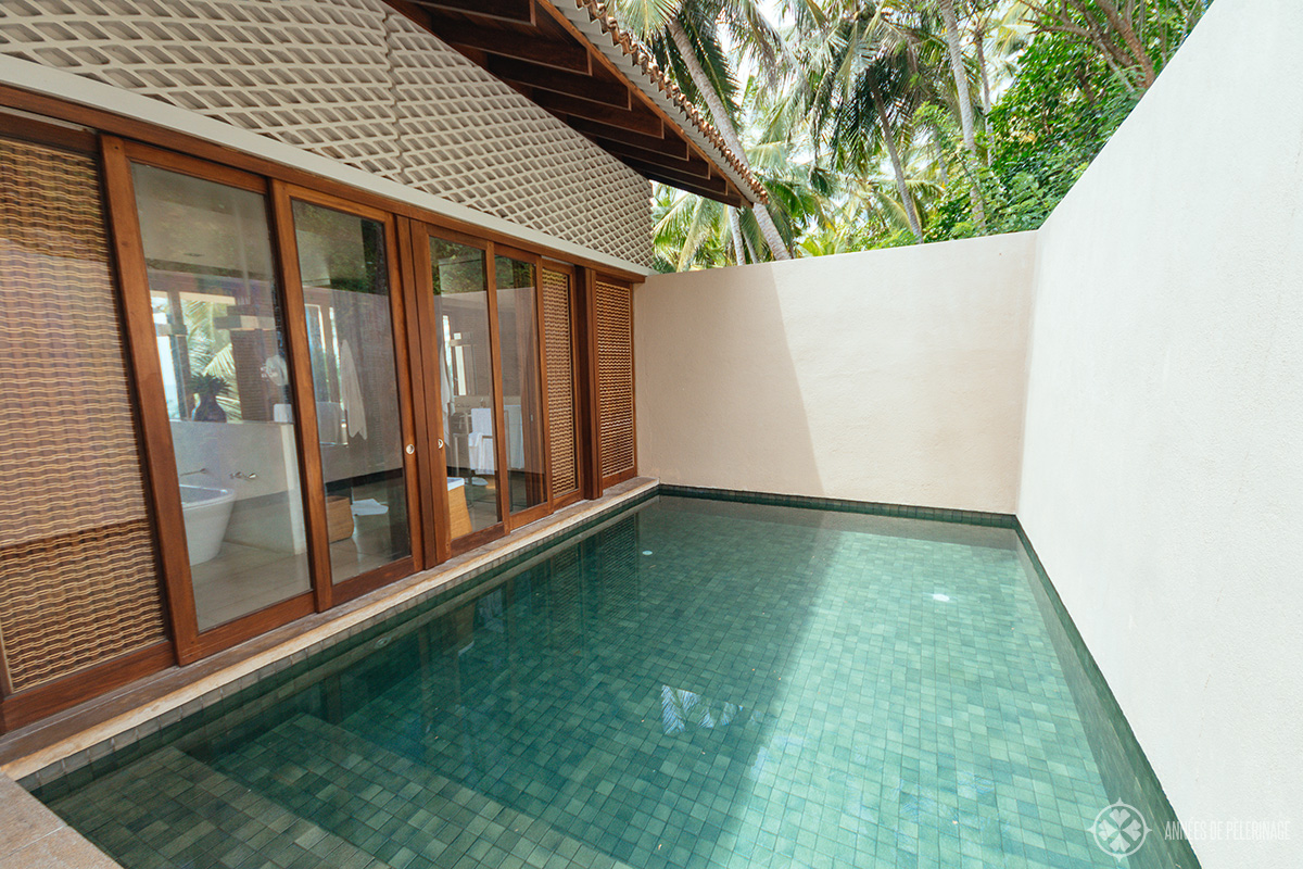 the private courtyard pool inside the villas at Amanwella luxury hotel Sri lanka