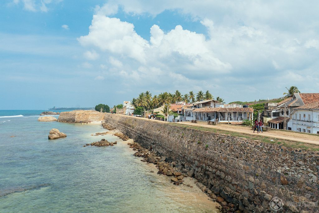 The outer rampart of the UNESCO World Heritage site dutch fort Galle - walking along its lenght is just one of the many free things to do in Galle
